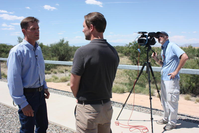 A TV crew interviews Mike Nelson, director of power production, about the work we do to maintain the Wildlife Viewing Area and adjacent habitat just east of the Apache Generating Station. The Wildlife Viewing Area is a protected riparian habitat and a popular destination for bird watchers from around the world.